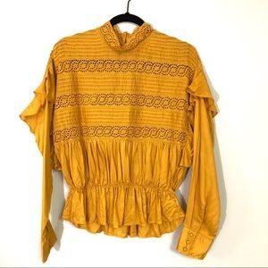 Free people yellow/gold high neck long sleeve top